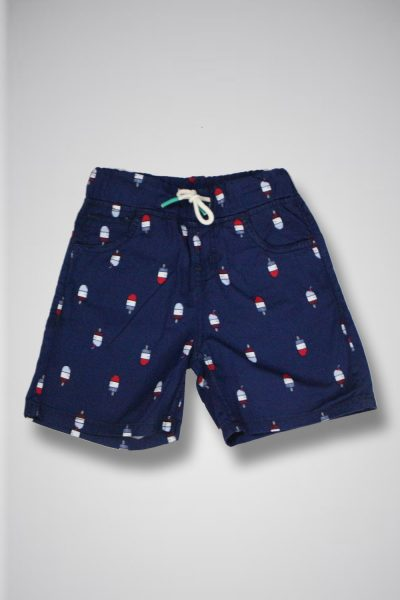 Toddler's BLUE ice cream Shorts with drawstring waistband