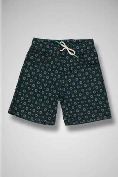 Toddler's Dark Green Printed Shorts with drawstring waistband