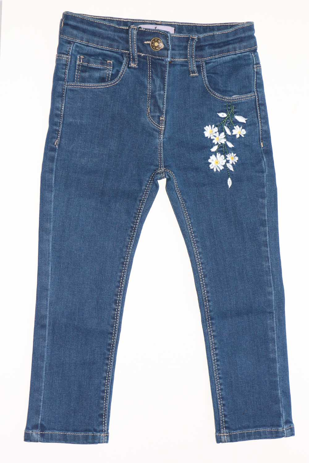 Girls Flower embroidery jeans